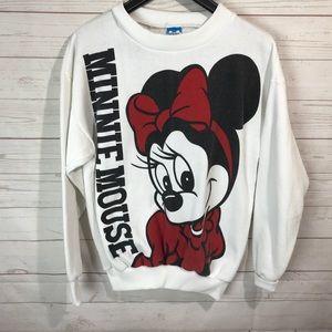 VTG 80's Disney Minnie Mouse Two Side Sweatshirt M